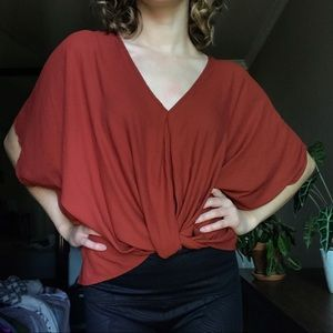 Rust Red Slouchy Twist-Front Top